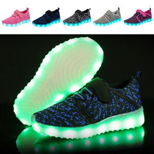 6e9cf6b208d55 Chargement de l image en cours Enfants-Garcons-Filles-Chaussures-LED -Lumiere-Chargement-USB-