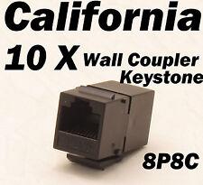 10 X pcs Lot CAT6 Inline RJ45 Keystone Wall Coupler Jack Adapter 8P8C CAT5 CAT5e