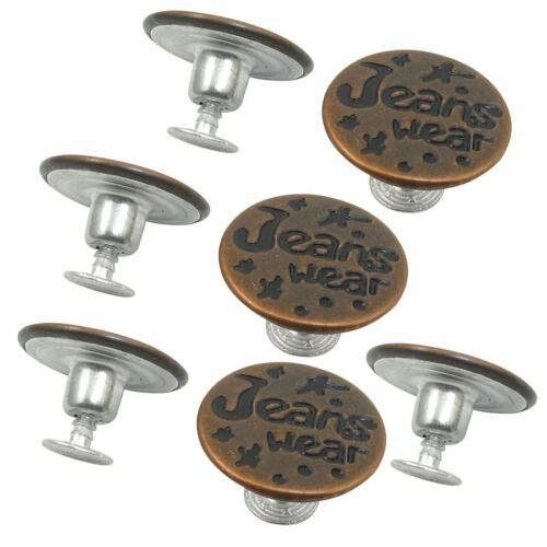 7PCS Letters Pattern Lock Inside No Sew Jeans Tack Buttons 20mm Dia N3