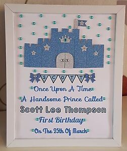 Image Is Loading Personalised Framed Boy Castle Baby First 1st Birthday