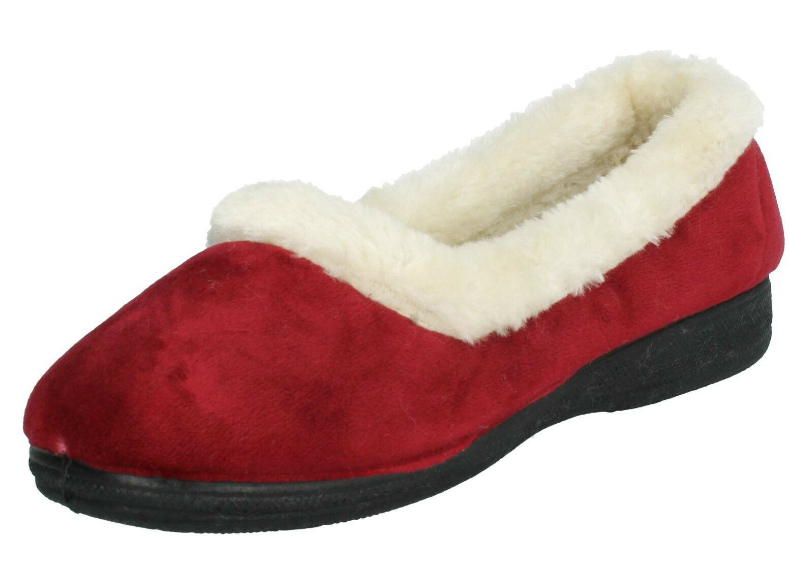 LADIES FOUR SEASONS SUSAN FAUX FUR LINED SHOES MEMORY FOAM MULES WARM SLIPPERS