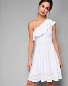 0ccb3c1cfa NWT Ted Baker One Shoulder Knitted Skater Dress Streena White  259 ...