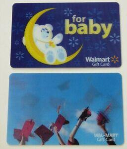 Walmart-Gift-Card-LOT-of-2-Lenticular-Grad-Hats-amp-Baby-Bear-No-Value