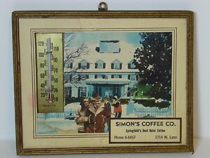 Vintage-1950s-SIMON-SIMON-039-S-COFFEE-ADVERTISING-Thermometer-SPRINGFIELD-MISSOURI