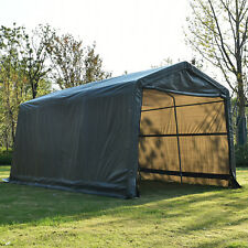 10x15x8ft Outdoor Tent Auto Storage Shed Shelter Portable Garage Steel Canopy & Portable Outdoor Tent 10x15x8 Shelter Garage Carport Canopy Steel ...