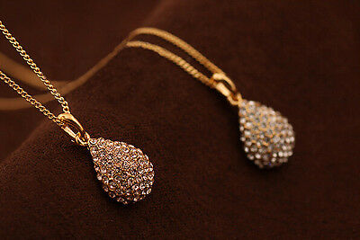 MGCA NEW Women Gold Plated Silver Plated Crystal Teardrop Necklace Shiny Pendant
