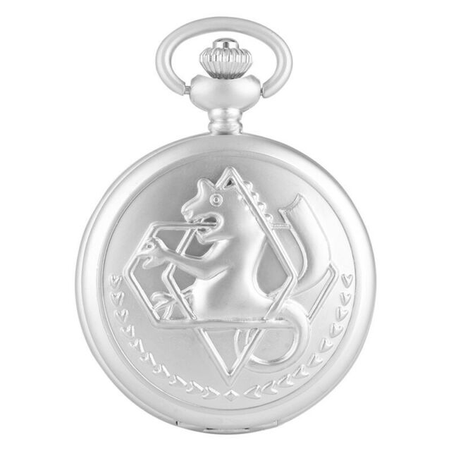 Silver Tone Fullmetal Alchemist Pocket Watch Cosplay Edward Elric Chain Anime