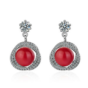 603bccfed 925 Silver Red White Pearl Zircon Stud Earring For Girls Women ...