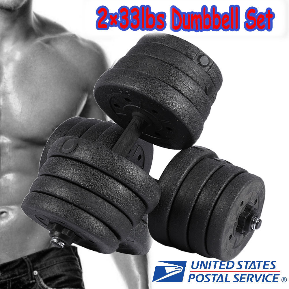 2×15kg 33lbs Adjustable Iron Dumbbell Set Weight Hand Gym Home Plate Fitness