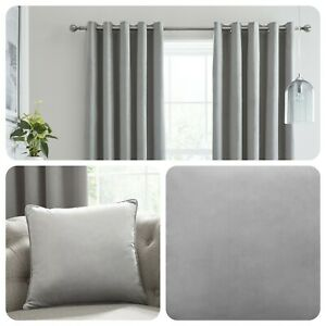 Laurence-Llewelyn-Bowen-MONTROSE-Silver-Blackout-Velvet-Eyelet-Curtains-Cushions