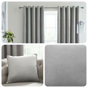 Laurence Llewelyn-Bowen MONTROSE Silver Blackout Velvet Eyelet Curtains Cushions