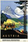 "Vintage Illustrated Travel Poster CANVAS PRINT Austria Band 24""X16"""