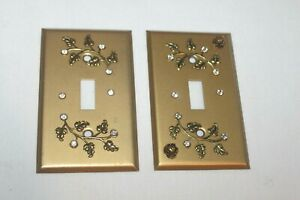 Details About 2 Vintage Ornate Metal Gold Cover Plates Single Light Switch Covers Rhinestones