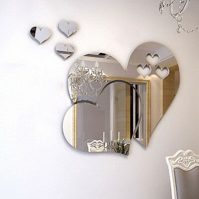 3D Hearts Style Mirror Wall Stickers Decal Art Mural Removable Home Room Decor
