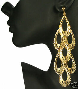 Clip on huge 5long gold plated big chandelier earrings ebay image is loading clip on huge 5 034 long gold plated mozeypictures Image collections