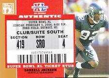 DARRELL JACKSON 2007 TOPPS SUPER BOWL XL TICKET STUB CARD SEATTLE SEAHAWKS NFL