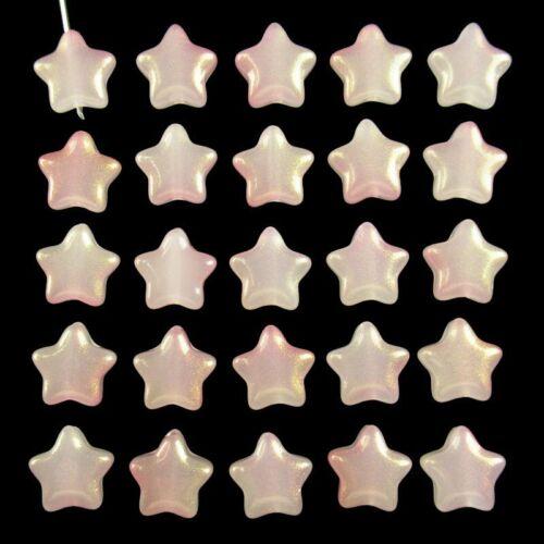20Pcs 6g Carved Pink Titanium Crystal Star Pendant Bead 8x8x3mm 875SJ