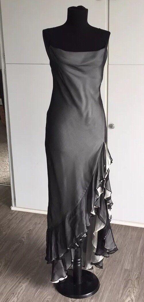NWT BCBG Stunning Silk Ruffle Tango Ballroom Dance Dress Sz 4 schwarz over Weiß