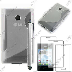 Housse-Etui-Coque-Silicone-Transparent-LG-Optimus-L3-E400-Stylet-3-Films