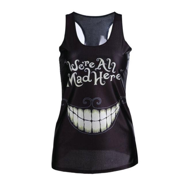 Black Teet Women Singlet Vest Tank Tops Stretchy Blouse Gothic Punk Rock T-Shirt