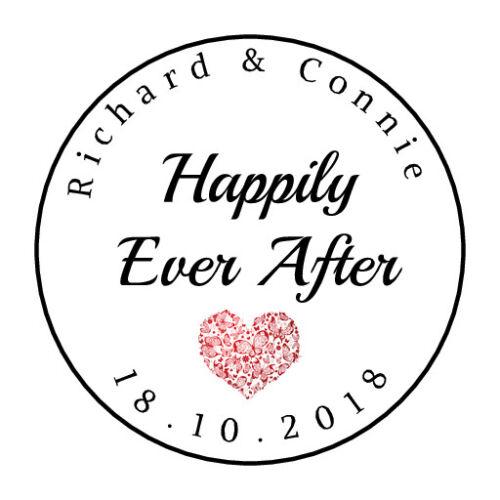 """105 personnalisé /""""Happily Ever After/"""" mariage faveurs étiquettes Design #224"""