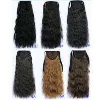"Women 22"" 55cm Clip In Hair Extensions Kinky Curly Ribbon Ponytail Hairpiece 90g"