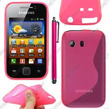 Housse Etui Coque Silicone Motif S-line Gel Rose Samsung Galaxy Y S5360 + Stylet