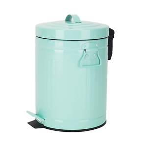 bathroom trash can with lid, small mint green wastebasket