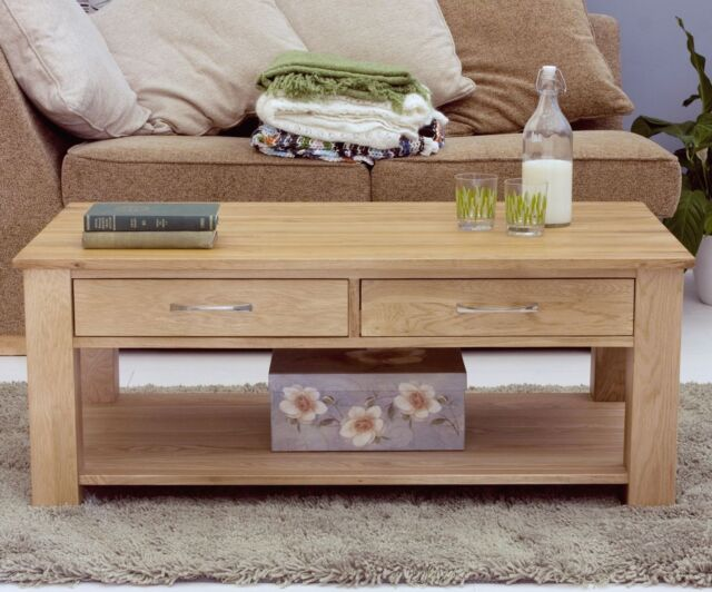 mobel solid oak living room furniture four drawer coffee table and felt pads