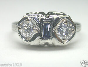 Antique-Art-Deco-Estate-Diamond-Engagement-18K-White-Gold-Ring-SZ-6-E-F-EGL-USA