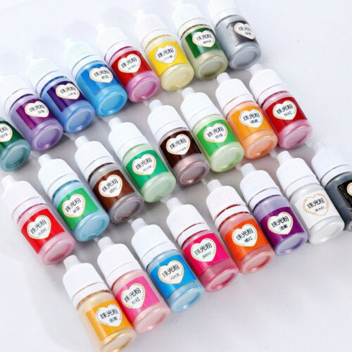 12 Bottle Pearlescent Epoxy UV Resin Shiny Glitter Pigment Mixed Color Craft DIY