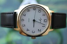 VINTAGE MEN'S THICKLY GOLD-PLATED RUSSIAN LUCH (POLJOT) DELUXE WATCH 23 JEWELS!