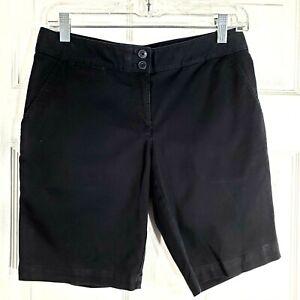 TOMMY-BAHAMA-Size-0-Black-Long-Shorts-Bermuda-Chinos-Womens-Stretch-Cotton-Blend