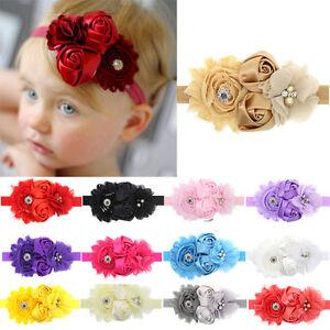 Bandeau-Bebes-filles-dentelle-Shabby-Fleurs-Bandeau-Rose-perle-strass-Tiaras