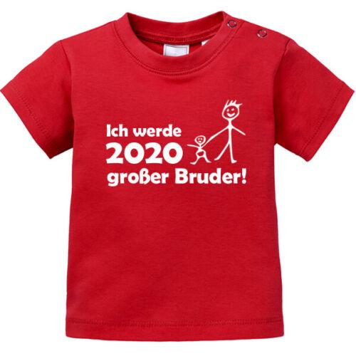 """Baby T-Shirt kurzarm bedruckt /""""Ich werde 2020 großer Bruder/""""  92//98"""