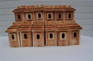 3 BLUEBIRD BIRD HOUSES NEST BOX CEDAR SHAKE ROOF PETERSON OVAL OPENING FREE S//H