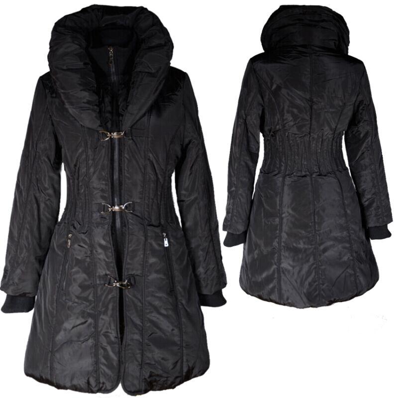 Aktiv Damen Ballon Winter Jacke Mantel 36 38 40 42 44 S M L Parka Schwarz Anorak Coat Gute WäRmeerhaltung