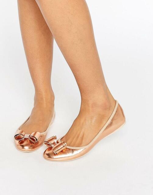 TED BAKER Immet Rose Gold Ballet Flats sz 40, 9 - 9.5