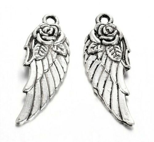 6 Angel Wing with Detailed Rose Antique Silver Pewter Pendant two side 30x11mm