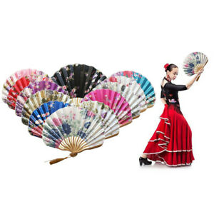 Unisex Chinese Style Hand Held Fan Bamboo Paper Folding Fan Party Wedding Decor