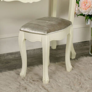 Cream Painted Upholstered Dressing Table Stool Shabby Chic French Bedroom Seat Ebay