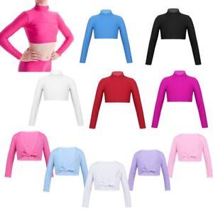 Girls-Long-Sleeves-Dance-Crop-Top-Costume-Nylon-Lycra-Dancewear-Child-Workout