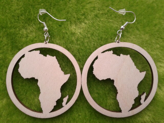 Wooden earrings kit Africa in a circle laser cut for crafts decoupage sizes