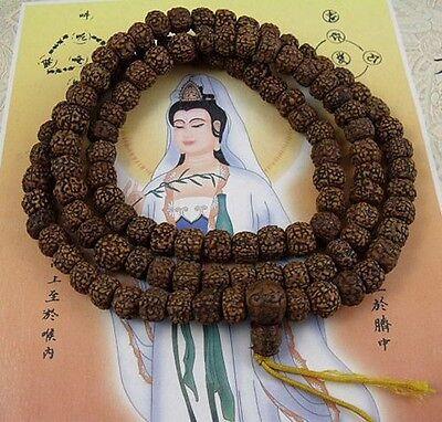8mm Tibetan Buddhism 108 Old Rudraksha Seeds Prayer Bead Mala Necklace