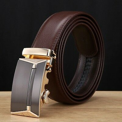 Men's Genuine Leather Automatic Buckle Black/Brown Waist Strap Belt Waistband