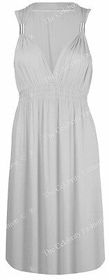 New Womens Ladies Sleeveless Jersey Spring Coil Short Dress Evening Plus Sizes