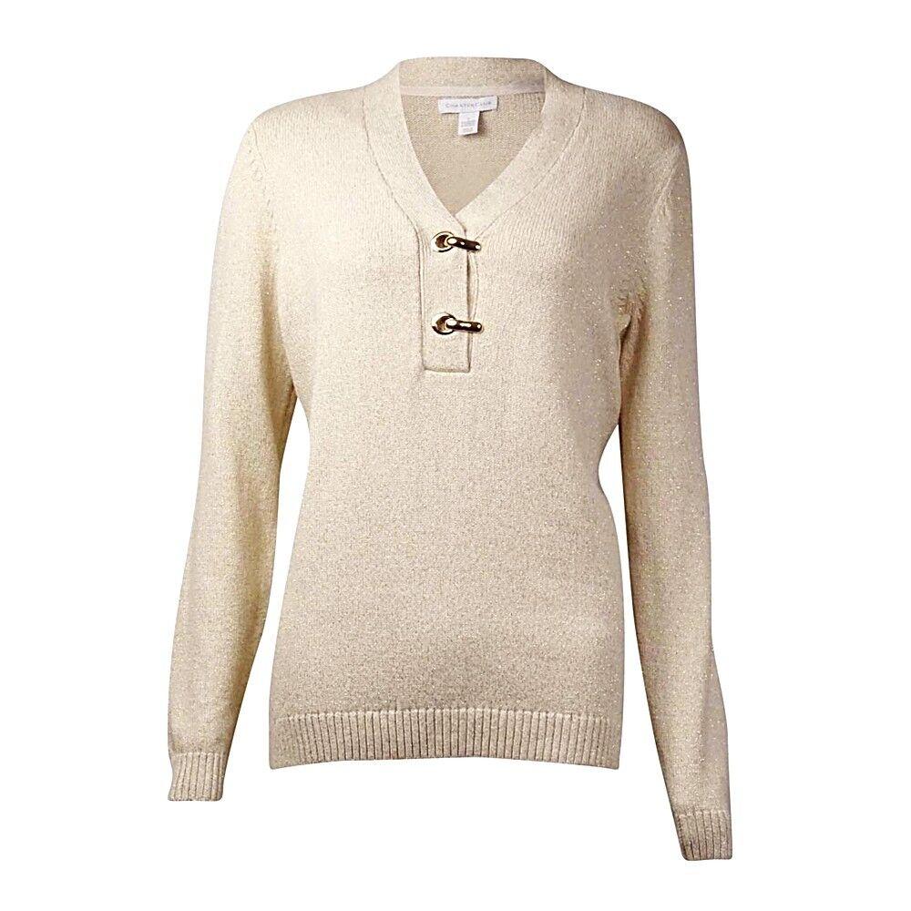 Charter Club Ivory Shimmering Metallic Hardware Sweater Top Women's Plus Size 3X