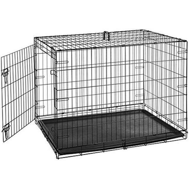 Indoor Folding Cage Crate Kennel Large Pet Dog Single-Door