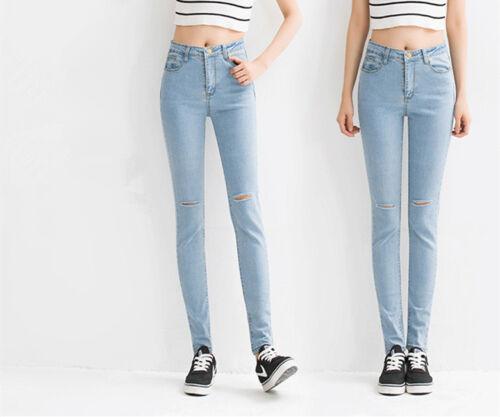 New Womens Stretch Faded Ripped Slim Fit Skinny Denim Jeans Size UK 4 6 8 12 14