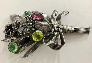 Massive HOBE Sterling Flower Bouquet Glass Stones Brooch Pin